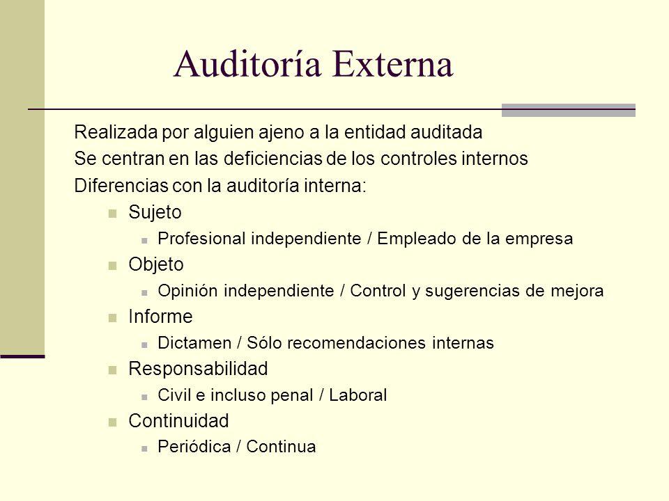 Auditoría Externa Realizada por alguien ajeno a la entidad auditada Se centran en las deficiencias de los controles internos Diferencias con la audito