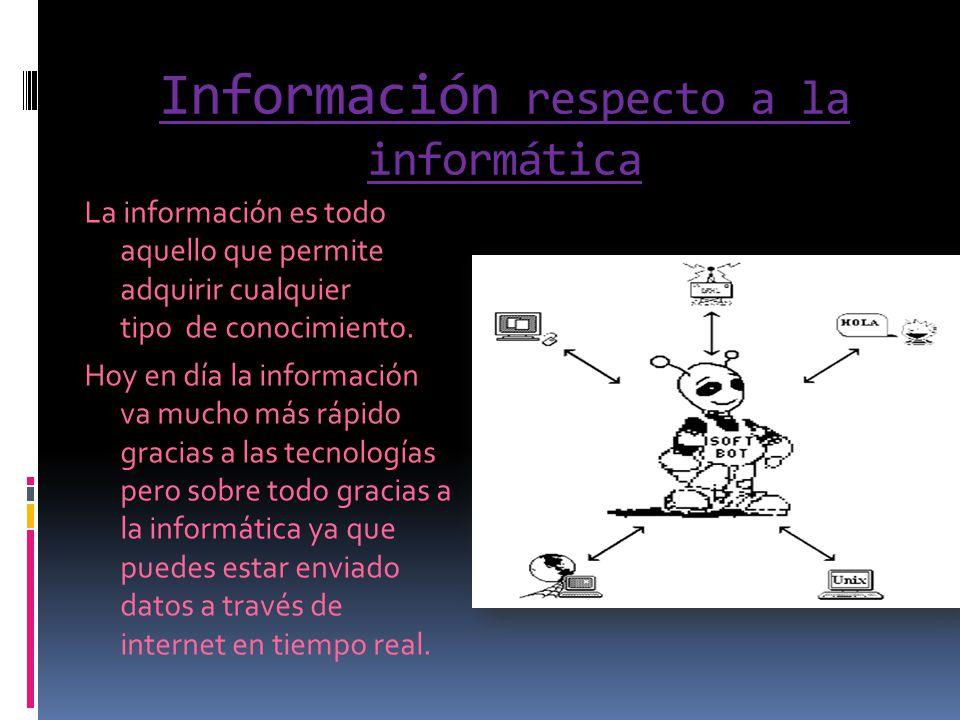 Información respecto a la informática La información es todo aquello que permite adquirir cualquier tipo de conocimiento. Hoy en día la información va