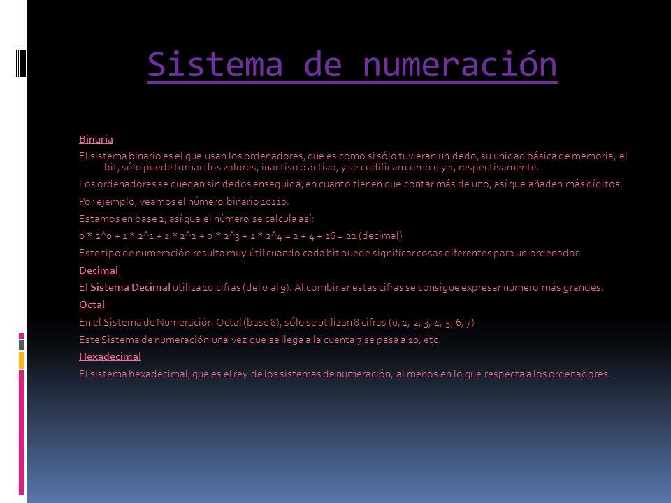 Sistema de numeración Binaria El sistema binario es el que usan los ordenadores, que es como si sólo tuvieran un dedo, su unidad básica de memoria, el