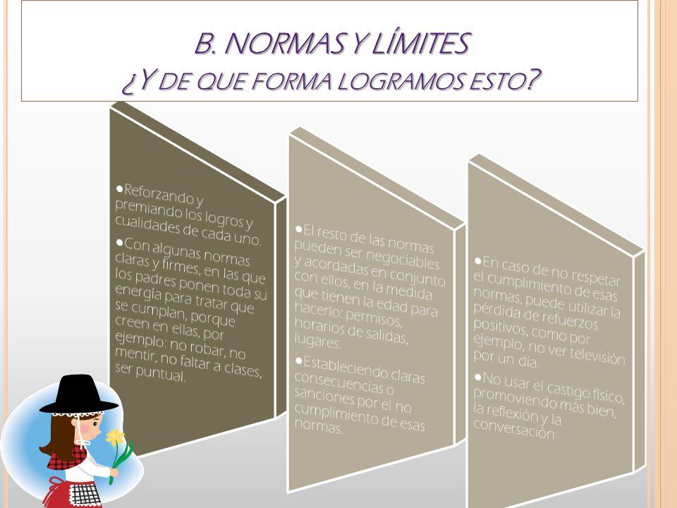B. NORMAS Y LÍMITES ¿Y DE QUE FORMA LOGRAMOS ESTO ?