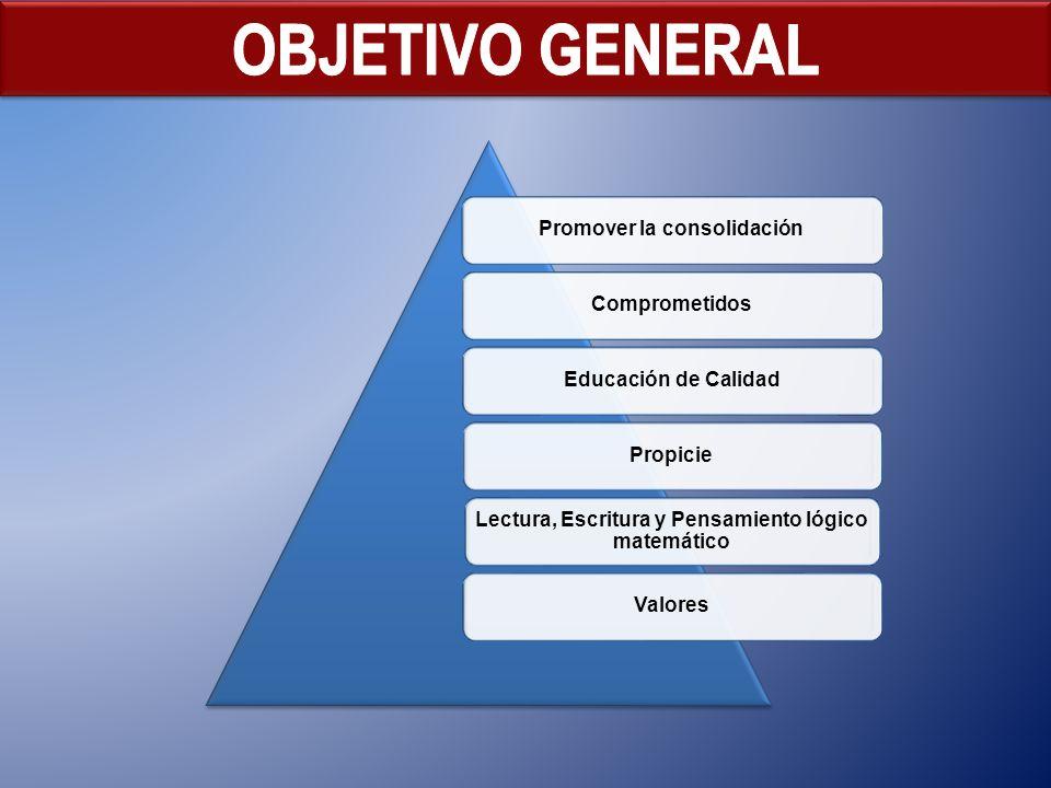 Promover la consolidaciónComprometidosEducación de CalidadPropicie Lectura, Escritura y Pensamiento lógico matemático Valores