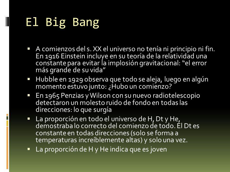 El Big Bang A comienzos del s. XX el universo no tenía ni principio ni fin. En 1916 Einstein incluye en su teoría de la relatividad una constante para