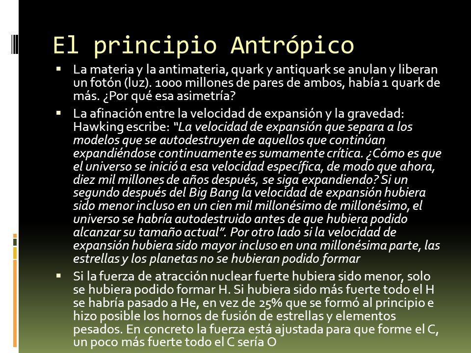 El principio Antrópico La materia y la antimateria, quark y antiquark se anulan y liberan un fotón (luz). 1000 millones de pares de ambos, había 1 qua