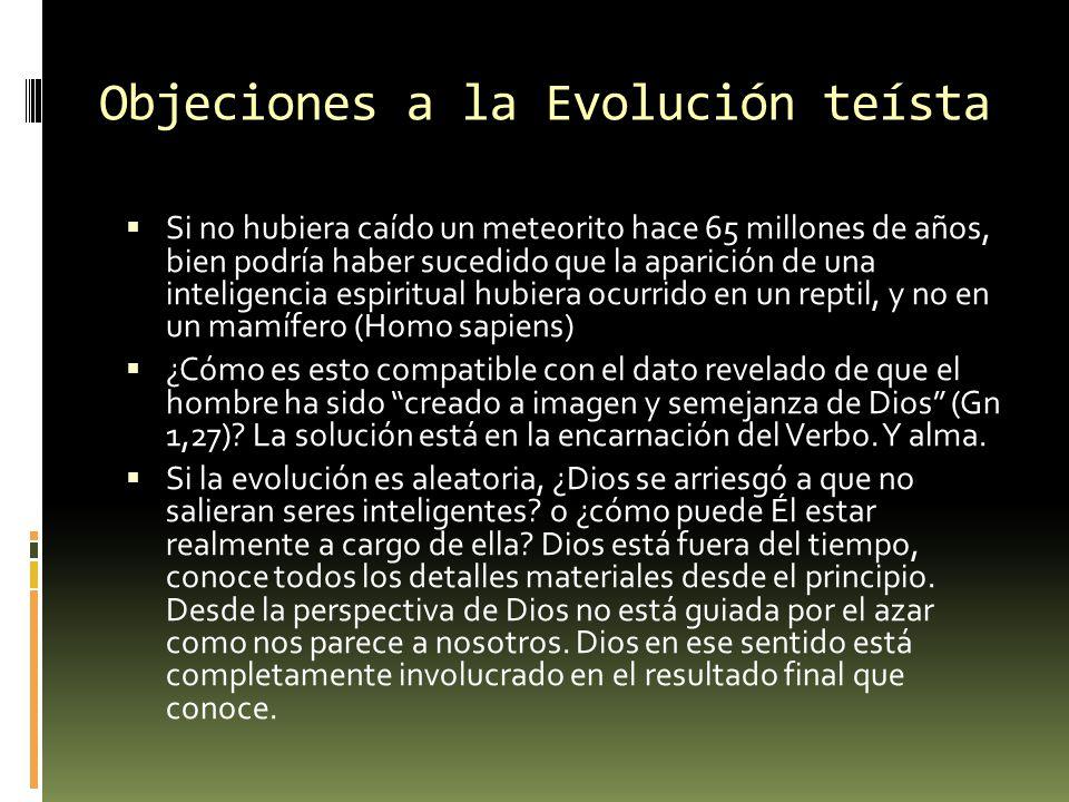 Objeciones a la Evolución teísta Si no hubiera caído un meteorito hace 65 millones de años, bien podría haber sucedido que la aparición de una intelig
