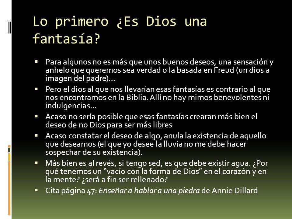 Lo primero ¿Es Dios una fantasía? Para algunos no es más que unos buenos deseos, una sensación y anhelo que queremos sea verdad o la basada en Freud (
