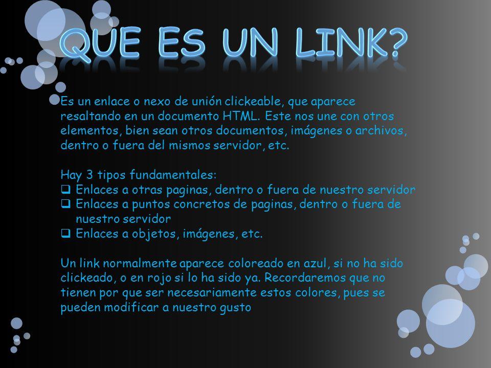 Es un enlace o nexo de unión clickeable, que aparece resaltando en un documento HTML. Este nos une con otros elementos, bien sean otros documentos, im