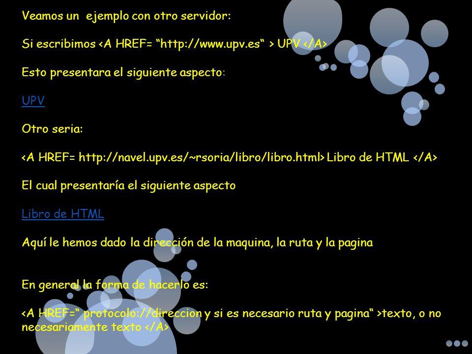 Veamos un ejemplo con otro servidor: Si escribimos UPV Esto presentara el siguiente aspecto: UPV Otro seria: Libro de HTML El cual presentaría el sigu