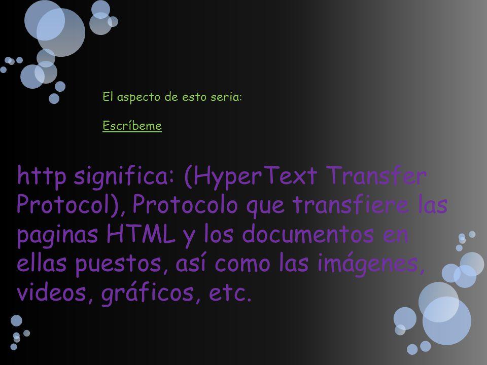 El aspecto de esto seria: Escríbeme http significa: (HyperText Transfer Protocol), Protocolo que transfiere las paginas HTML y los documentos en ellas