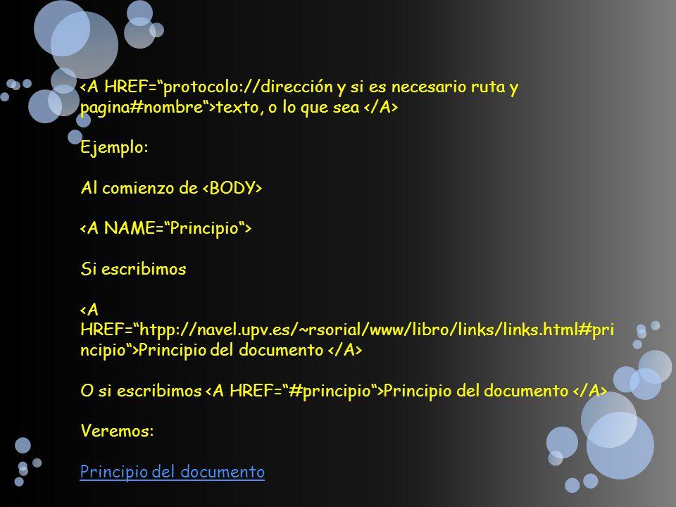 texto, o lo que sea Ejemplo: Al comienzo de Si escribimos Principio del documento O si escribimos Principio del documento Veremos: Principio del docum