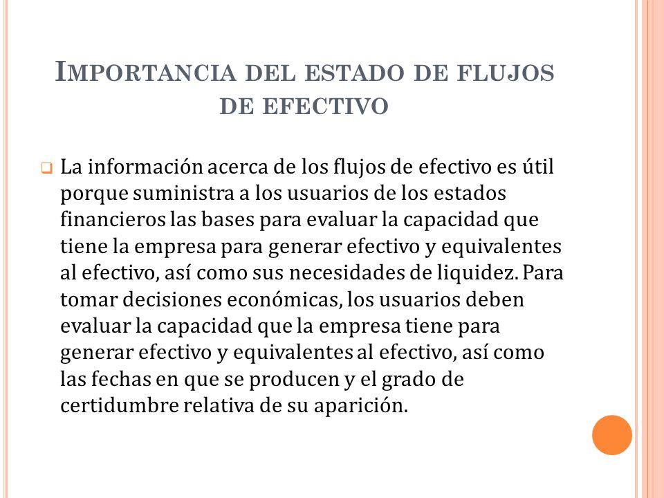 I MPORTANCIA DEL ESTADO DE FLUJOS DE EFECTIVO La información acerca de los flujos de efectivo es útil porque suministra a los usuarios de los estados