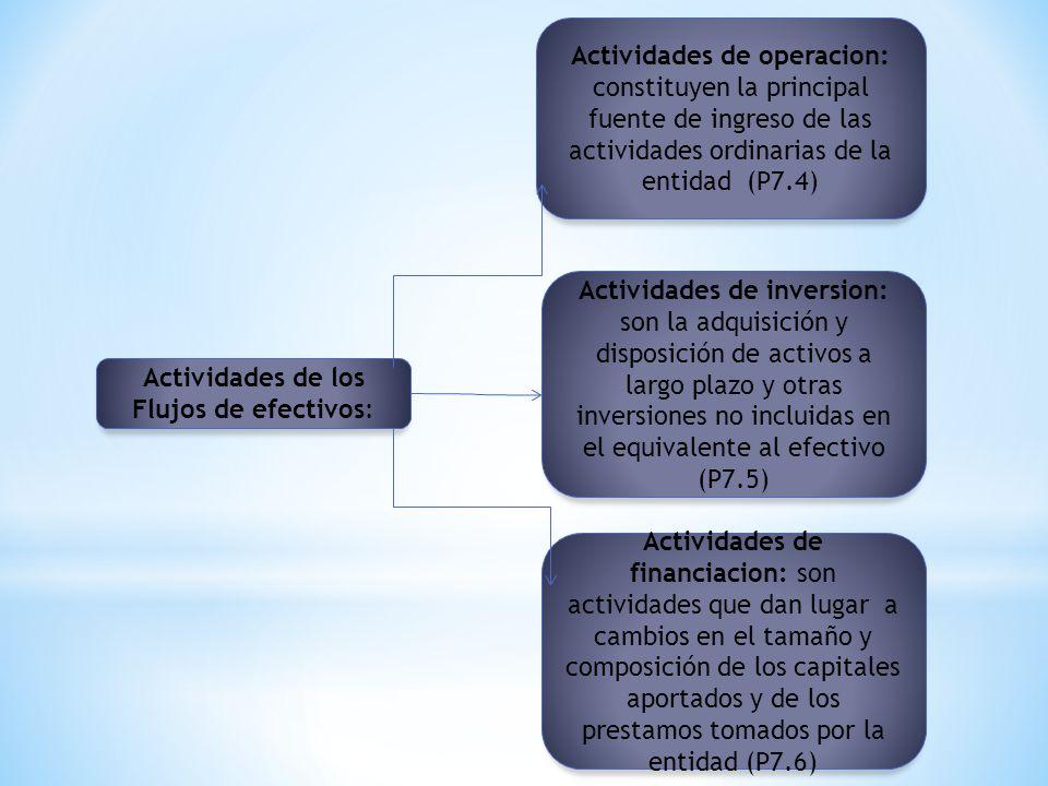 Actividades de operacion: constituyen la principal fuente de ingreso de las actividades ordinarias de la entidad (P7.4) Actividades de los Flujos de e
