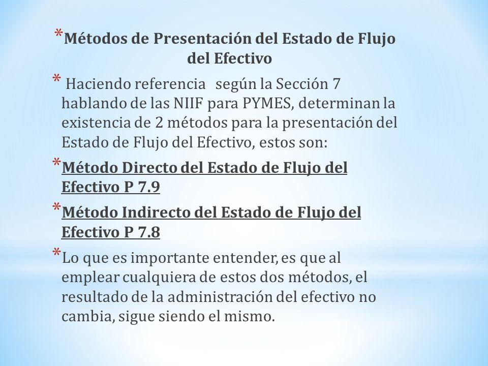 * Métodos de Presentación del Estado de Flujo del Efectivo * Haciendo referencia según la Sección 7 hablando de las NIIF para PYMES, determinan la exi
