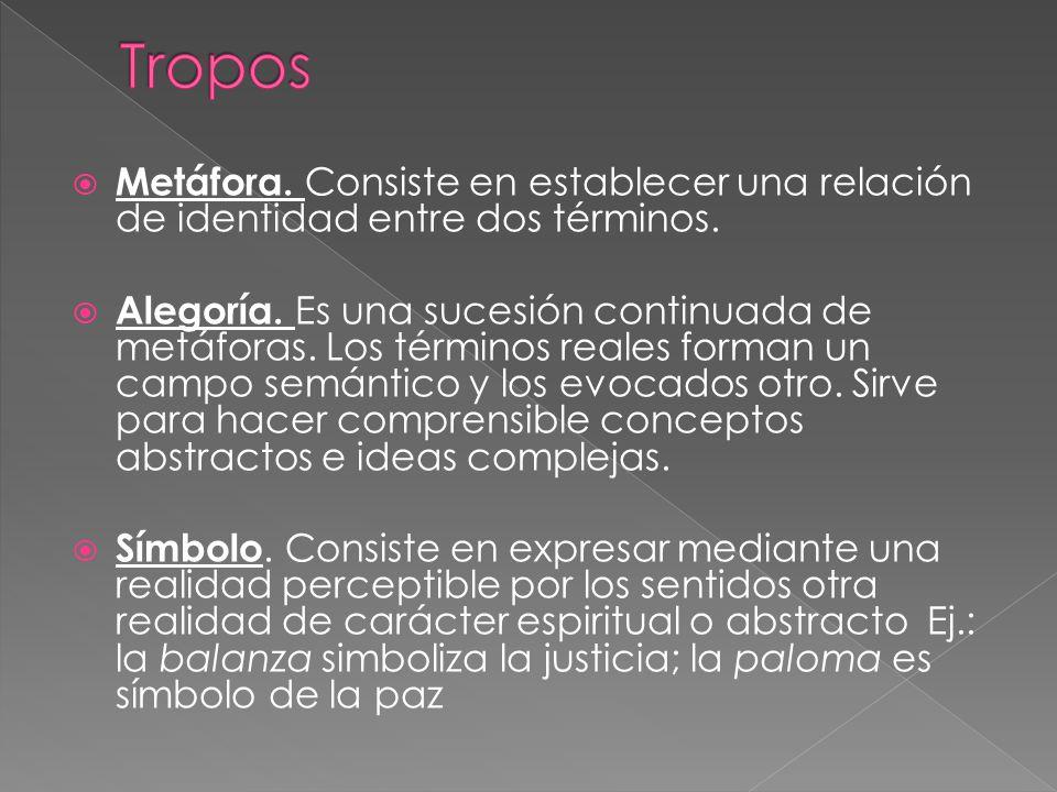 Metáfora. Consiste en establecer una relación de identidad entre dos términos. Alegoría. Es una sucesión continuada de metáforas. Los términos reales