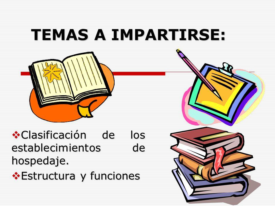 El alumno determinará las funciones de las áreas de establecimientos de hospedaje, de acuerdo a su tipología, clasificación y estructura organizaciona
