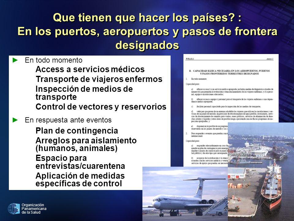 Organización Panamericana de la Salud En todo momento Access a servicios médicos Transporte de viajeros enfermos Inspección de medios de transporte Co