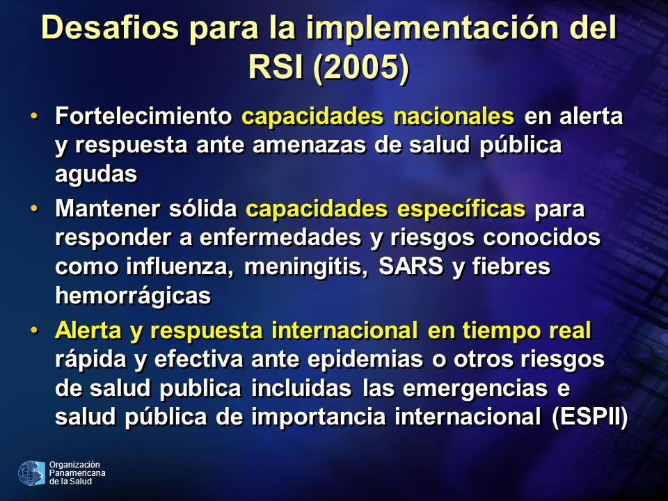 Organización Panamericana de la Salud Desafios para la implementación del RSI (2005) Fortelecimiento capacidades nacionales en alerta y respuesta ante