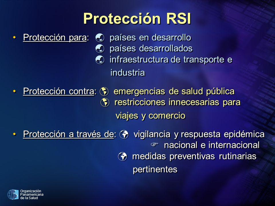 Organización Panamericana de la Salud Protección RSI Protección para: países en desarrollo países desarrollados infraestructura de transporte e indust