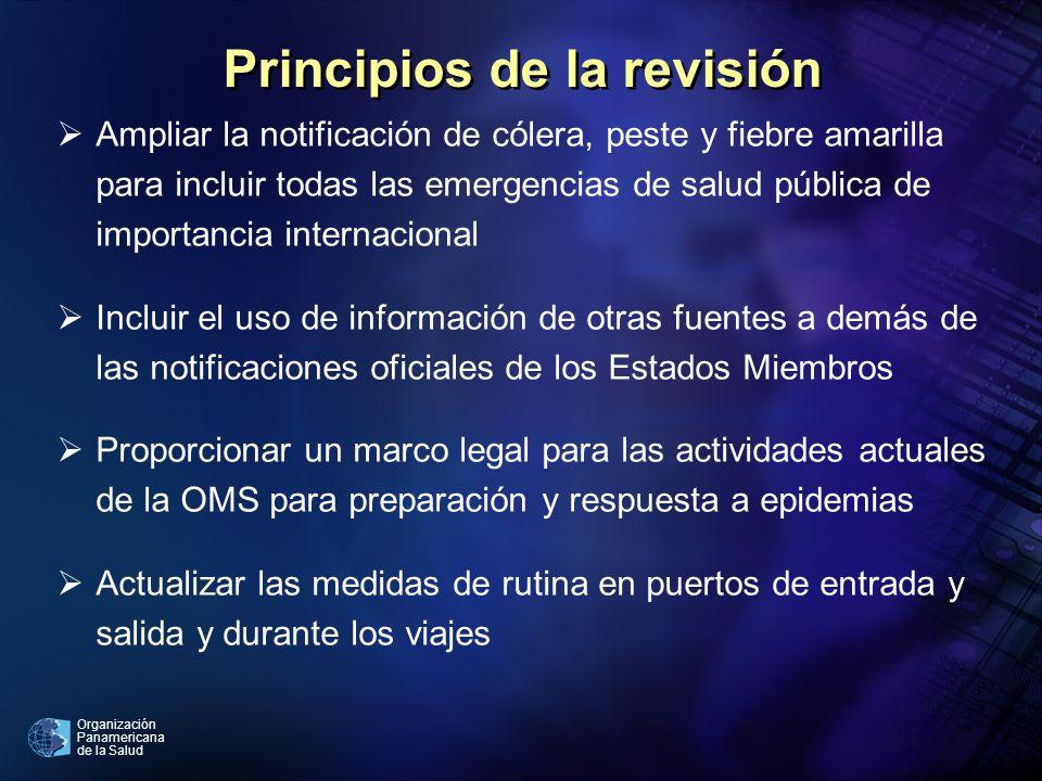 Organización Panamericana de la Salud Principios de la revisión Ampliar la notificación de cólera, peste y fiebre amarilla para incluir todas las emer