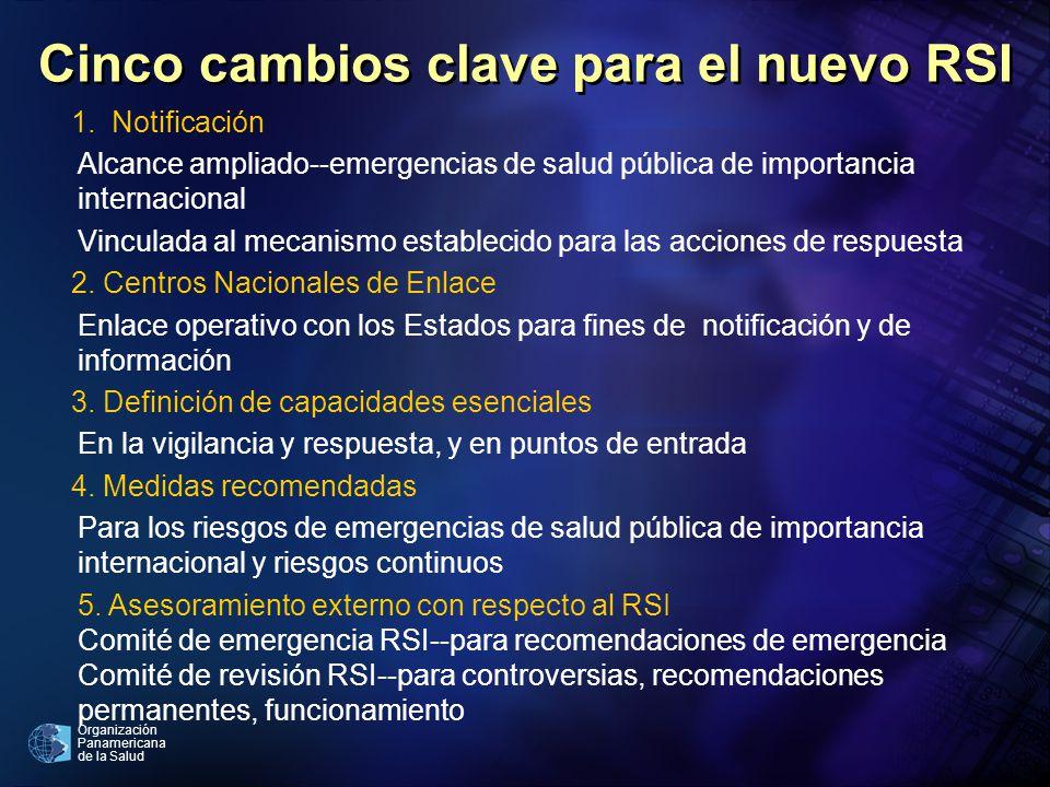 Organización Panamericana de la Salud Cinco cambios clave para el nuevo RSI 1. Notificación Alcance ampliado--emergencias de salud pública de importan