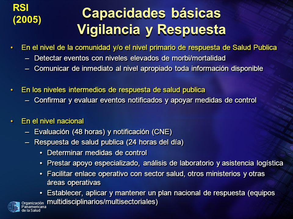 Organización Panamericana de la Salud Capacidades básicas Vigilancia y Respuesta En el nivel de la comunidad y/o el nivel primario de respuesta de Sal