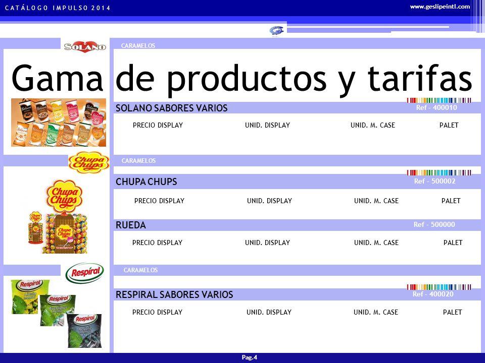 C A T Á L O G O I M P U L S O 2 0 1 4 Gama de productos y tarifas CHICLES ORBIT SABORES VARIOS Ref - 300038 PRECIO DISPLAYUNID.