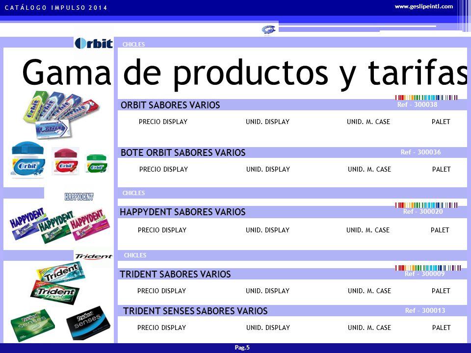 C A T Á L O G O I M P U L S O 2 0 1 4 Gama de productos y tarifas CHICLES SMINT SABORES VARIOS Ref - 400001 PRECIO DISPLAYUNID.