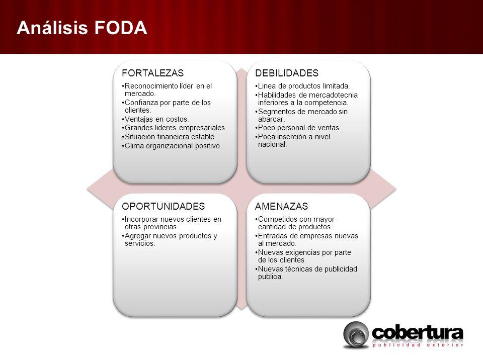 Análisis FODA FORTALEZAS Reconocimiento líder en el mercado. Confianza por parte de los clientes. Ventajas en costos. Grandes lideres empresariales. S