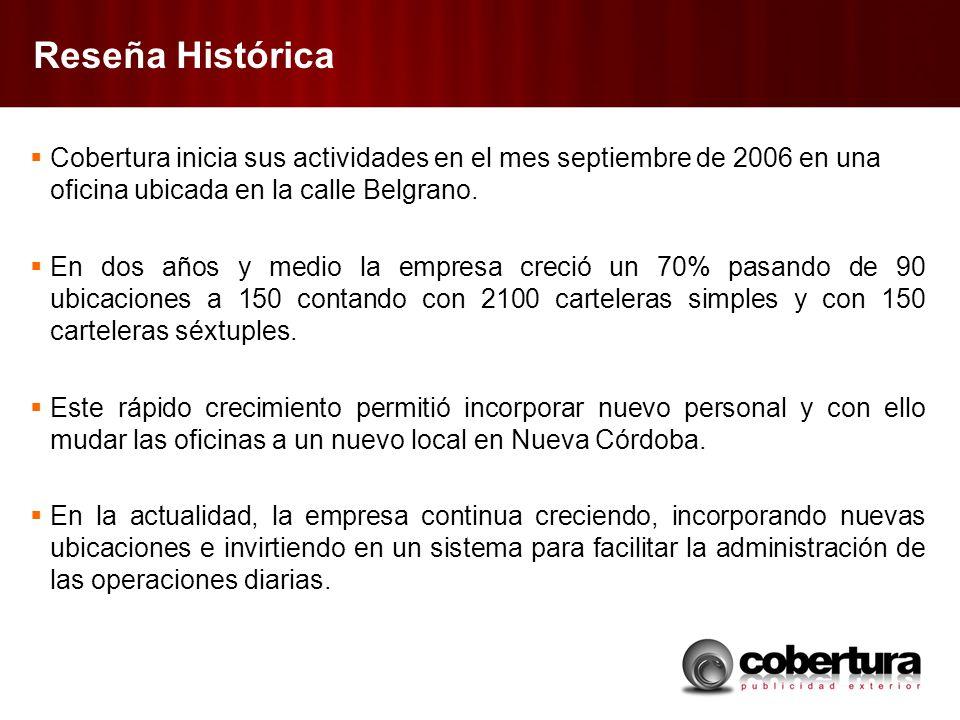 Reseña Histórica Cobertura inicia sus actividades en el mes septiembre de 2006 en una oficina ubicada en la calle Belgrano. En dos años y medio la emp