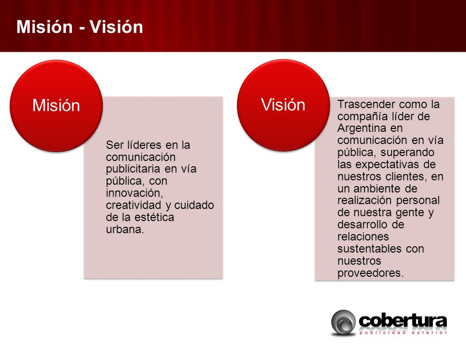 Misión - Visión Ser líderes en la comunicación publicitaria en vía pública, con innovación, creatividad y cuidado de la estética urbana. Misión Trasce