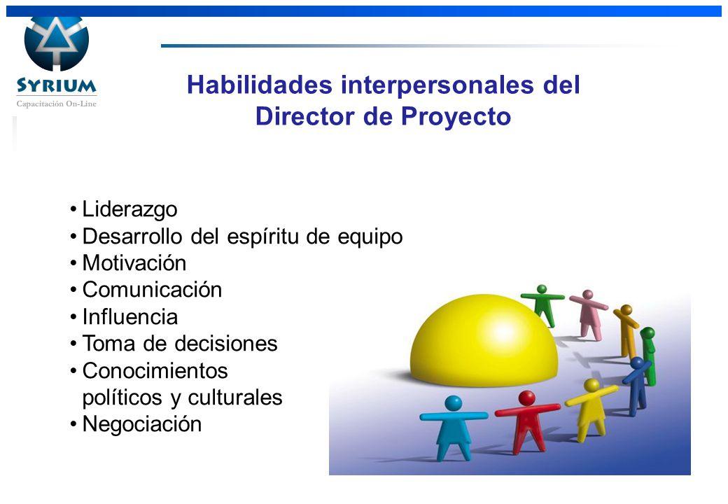 Rosario Morelli, PMP Habilidades interpersonales del Director de Proyecto Liderazgo Desarrollo del espíritu de equipo Motivación Comunicación Influenc