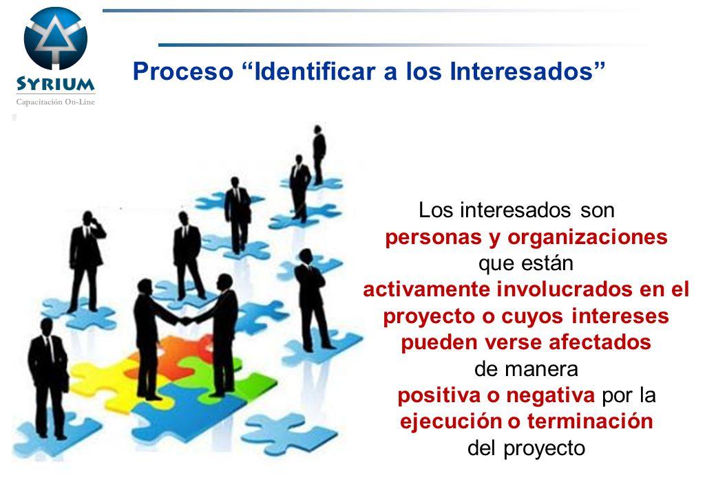 Rosario Morelli, PMP Proceso Identificar a los Interesados Los interesados son personas y organizaciones que están activamente involucrados en el proy