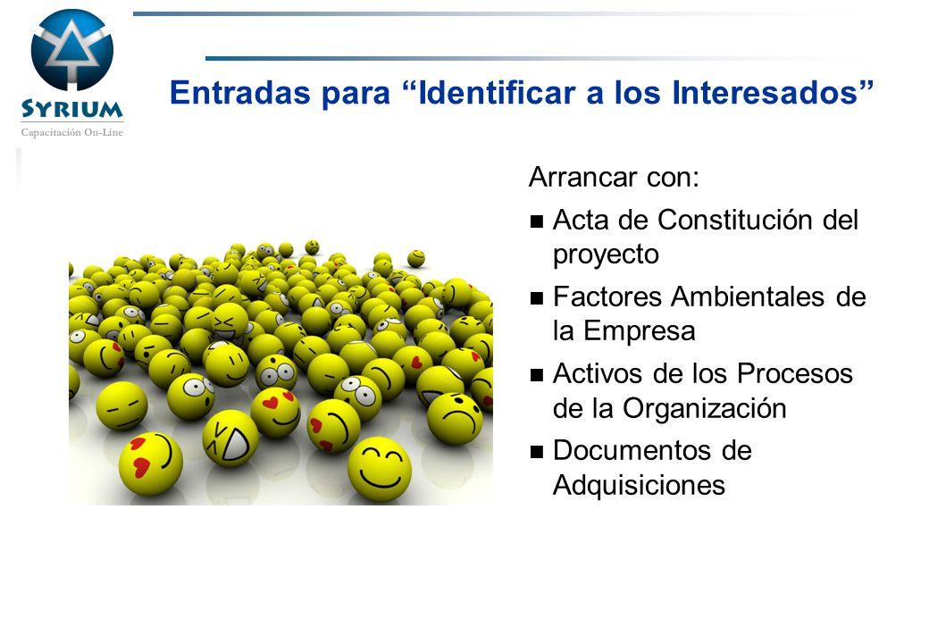 Rosario Morelli, PMP Entradas para Identificar a los Interesados Arrancar con: Acta de Constitución del proyecto Factores Ambientales de la Empresa Ac