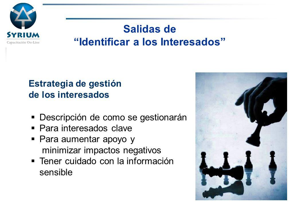 Rosario Morelli, PMP Salidas de Identificar a los Interesados Estrategia de gestión de los interesados Descripción de como se gestionarán Para interes