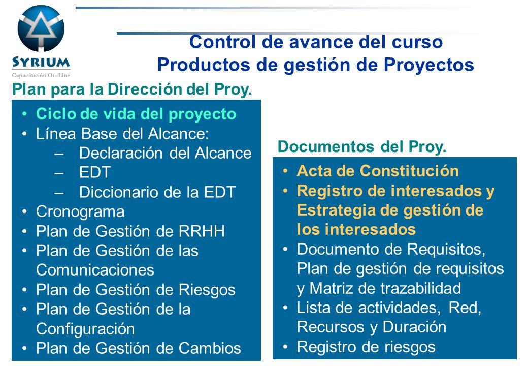 Rosario Morelli, PMP Control de avance del curso Productos de gestión de Proyectos Ciclo de vida del proyecto Línea Base del Alcance: –Declaración del