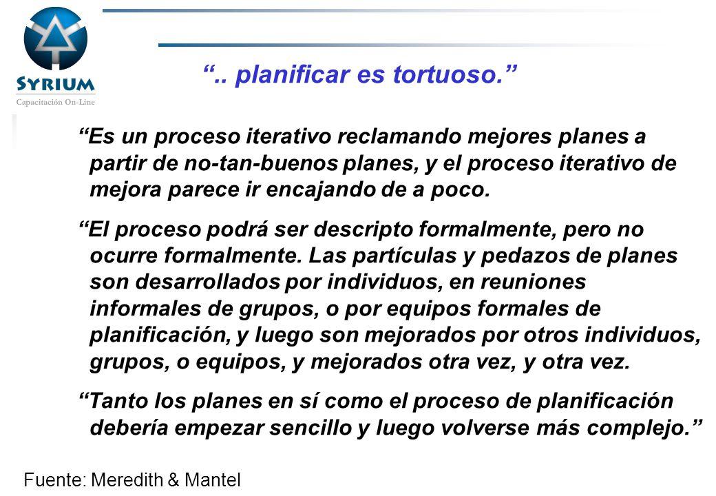 Rosario Morelli, PMP.. planificar es tortuoso. Es un proceso iterativo reclamando mejores planes a partir de no-tan-buenos planes, y el proceso iterat