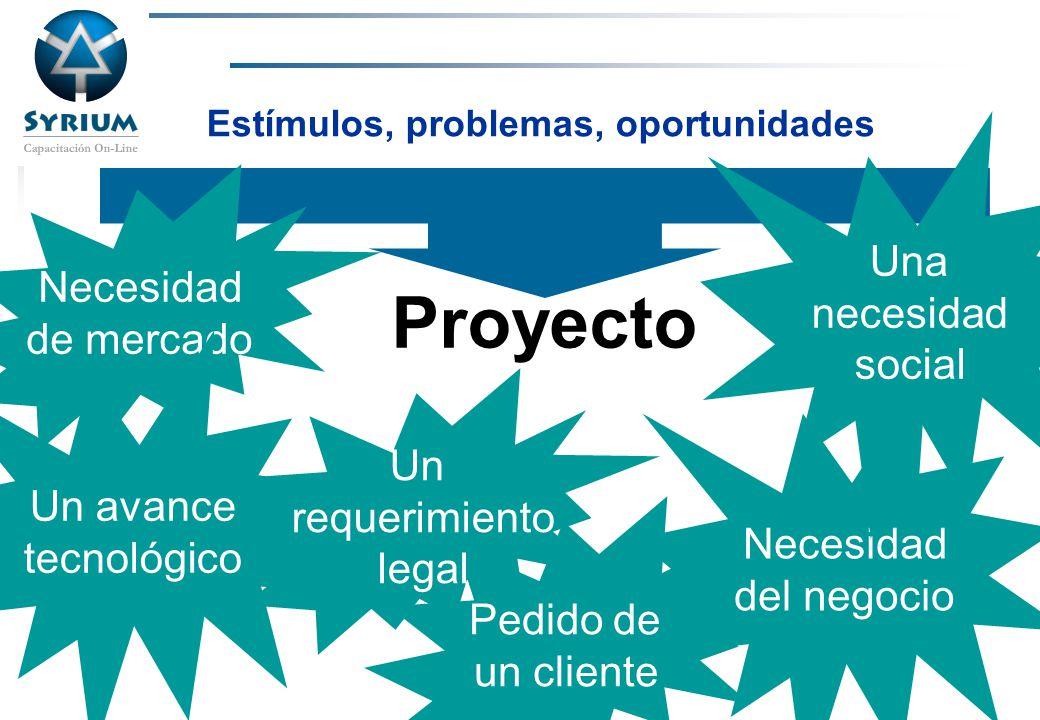 Rosario Morelli, PMP Proyecto Necesidad de mercado Un avance tecnológico Pedido de un cliente Necesidad del negocio Una necesidad social Un requerimie