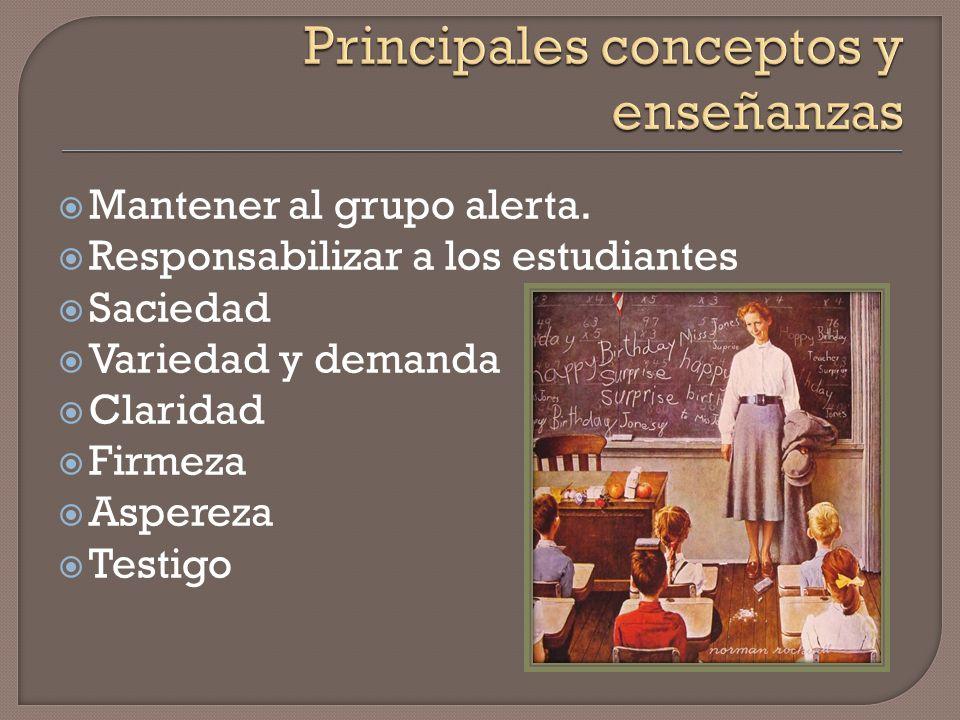 Efecto de ondulación: Efecto de ondulación: Palabras que dirige el maestros un estudiante afectan la conducta de otros estudiantes. Atestiguando: Cono