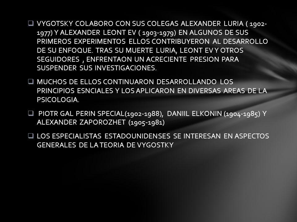 VYGOTSKY COLABORO CON SUS COLEGAS ALEXANDER LURIA ( 1902- 1977) Y ALEXANDER LEONT EV ( 1903-1979) EN ALGUNOS DE SUS PRIMEROS EXPERIMENTOS ELLOS CONTRIBUYERON AL DESARROLLO DE SU ENFOQUE.