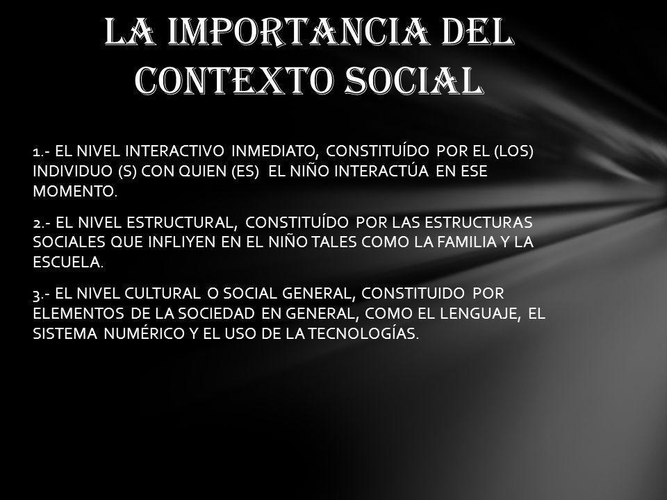 1.- EL NIVEL INTERACTIVO INMEDIATO, CONSTITUÍDO POR EL (LOS) INDIVIDUO (S) CON QUIEN (ES) EL NIÑO INTERACTÚA EN ESE MOMENTO.