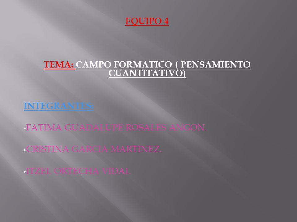 EQUIPO 4 TEMA: CAMPO FORMATICO ( PENSAMIENTO CUANTITATIVO) INTEGRANTES: FATIMA GUADALUPE ROSALES ANGON. CRISTINA GARCIA MARTINEZ. ITZEL ORTECHA VIDAL