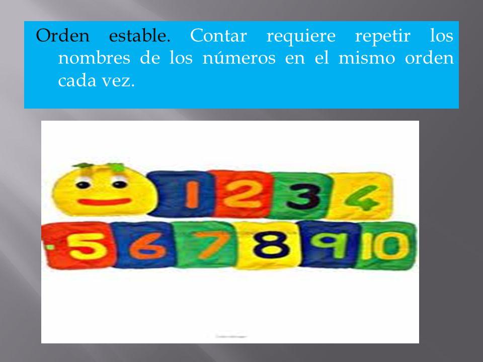 Orden estable. Contar requiere repetir los nombres de los números en el mismo orden cada vez.