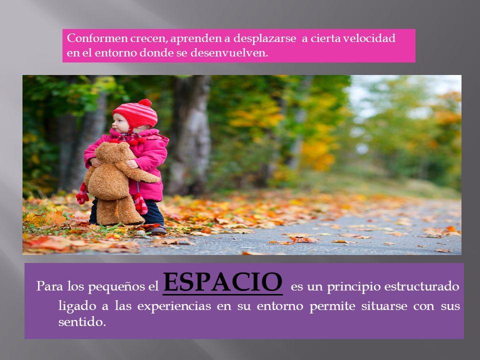 Para los pequeños el ESPACIO es un principio estructurado ligado a las experiencias en su entorno permite situarse con sus sentido. Conformen crecen,