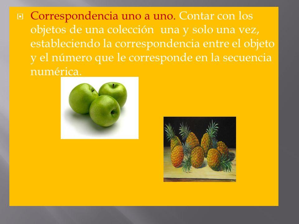Correspondencia uno a uno. Contar con los objetos de una colección una y solo una vez, estableciendo la correspondencia entre el objeto y el número qu