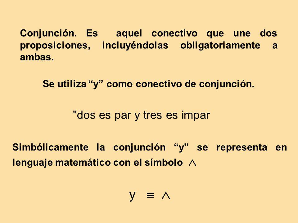 Conjunción. Es aquel conectivo que une dos proposiciones, incluyéndolas obligatoriamente a ambas. Se utiliza y como conectivo de conjunción.