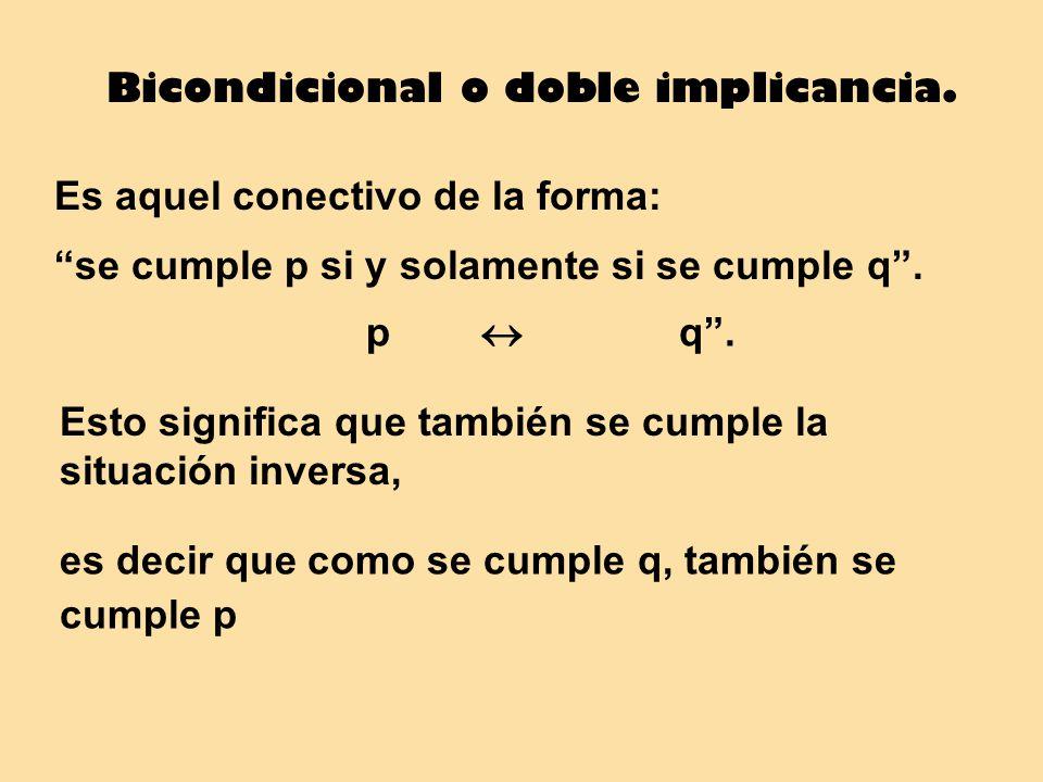 Bicondicional o doble implicancia. Es aquel conectivo de la forma: se cumple p si y solamente si se cumple q. Esto significa que también se cumple la