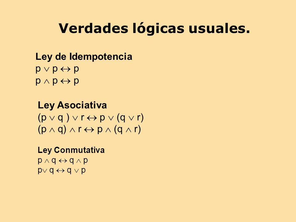 Verdades lógicas usuales. Ley de Idempotencia p p p Ley Asociativa (p q ) r p (q r) Ley Conmutativa p q q p