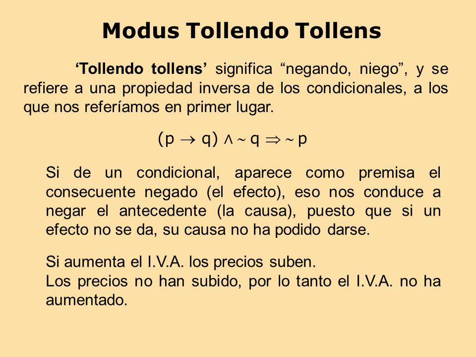 Modus Tollendo Tollens (p q) q p Tollendo tollens significa negando, niego, y se refiere a una propiedad inversa de los condicionales, a los que nos r