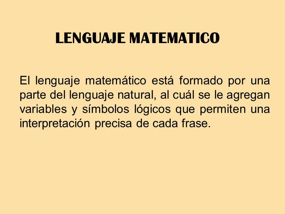 LENGUAJE MATEMATICO El lenguaje matemático está formado por una parte del lenguaje natural, al cuál se le agregan variables y símbolos lógicos que per