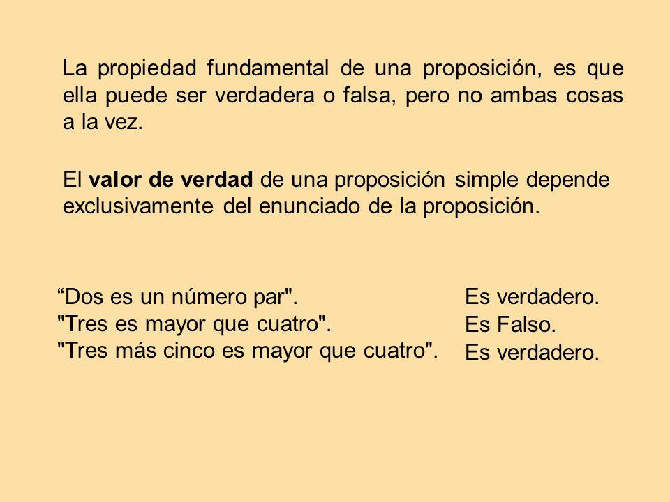 La propiedad fundamental de una proposición, es que ella puede ser verdadera o falsa, pero no ambas cosas a la vez. El valor de verdad de una proposic
