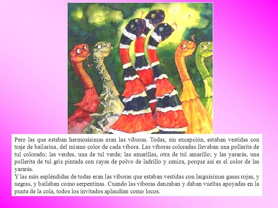 Sólo los flamencos, que entonces tenían las patas blancas, y tienen ahora como antes la nariz muy gruesa y torcida, sólo los flamencos estaban tristes, porque como tienen muy poca inteligencia, no habían sabido cómo adornarse.
